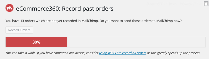 Adding all past orders to MailChimp
