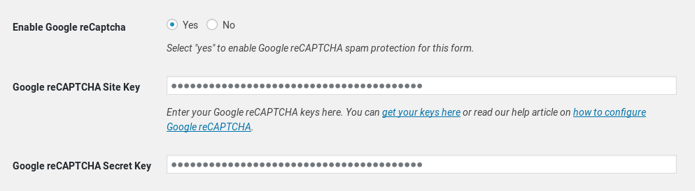 Add Google reCAPTCHA to forms - MailChimp for WordPress